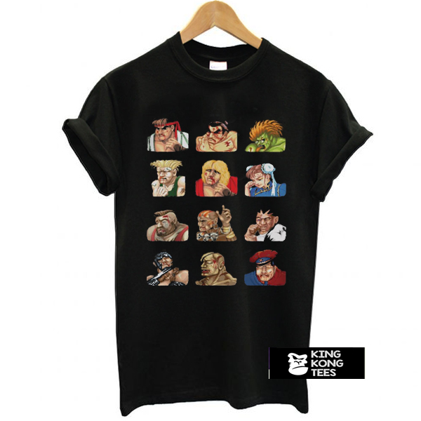 Street Fighter 2 Continue Faces t shirt