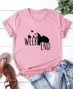 Weekend Lazy Panda Print Crew Neck Cotton T-Shirt
